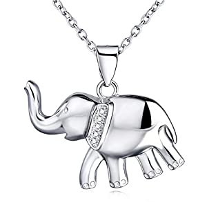 "YFN Elephant Necklace Sterling Silver with Cubic Zirconial Necklace Jewelry 18"" Rolo Chain"
