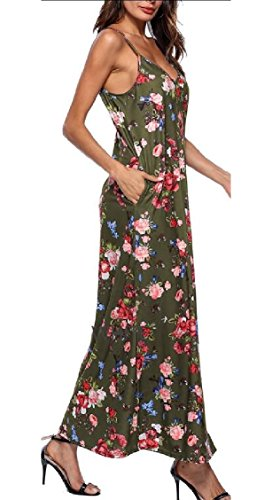 V Sundress Dresses Spaghetti Maxi Strap Boho Green Jaycargogo Neck Floral Beach Casual Womens POx1Fz