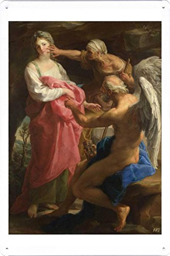 Artwork Oil Paint of Pompeo Girolamo Batoni - Time orders Old Age to destroy Beauty on Tin Sign by Masterpiece Collection (20*30cm) (Time Orders Old Age To Destroy Beauty)