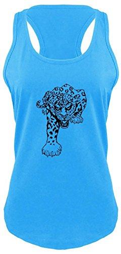 (Comical Shirt Ladies Racerback Tank Running Jaguar Tiger Turquoise)