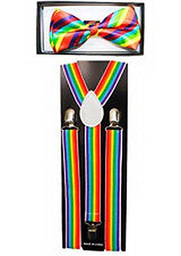 Scott Allah design Mens Accessories Rainbow Colors SUSPENDERS and BOW TIE COMBO SET Unisex Adjustable (Tuxedo Playboy Bunny Costume)