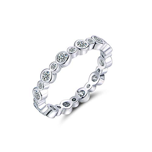 Plated Set Bezel - Natasa Sterling Silver Swarovski Cubic Zirconia Eternity Engagement Wedding All-Around Band Ring (Size 7)
