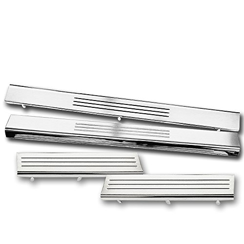 Sizver EXCLUSIVE 4pcs Stainless Steel Door Step Sill Plate For 2009-2010 Ram 1500/2500/3500 Quad/Crew/Mega cab (Chrome Quad Cab Door)