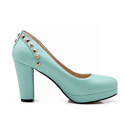 Carolbar Womens Rivet Sweet Elegance Bridal Wedding High Heel Dress Pumps Shoes Blue 1gCJl6o