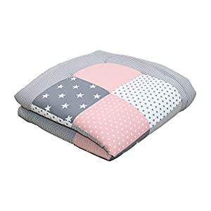 ULLENBOOM® Baby playmat– Pink Grey (100 x 100 cm Baby Comforter Blanket, Great in The Pushchair or as a playmat; Motifs: Stars)