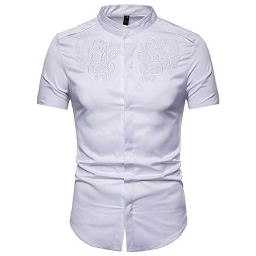 Hopeg Men Hipster Slim Fit Short Sleeve Button Down Shirts Tops with Embroidery - Friend Birthday Noble Gift/Not Easy to Wrinkle