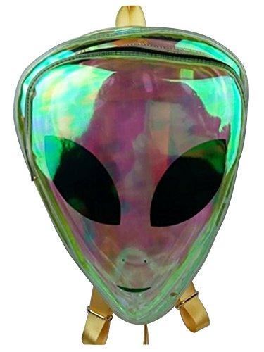 (Peiji Alien Kids Backpack PVC Hologram Clear Bag Purse Shoulder)