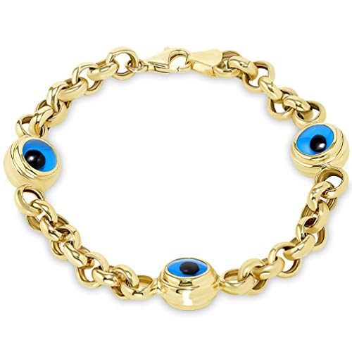 (14k Solid Yellow Gold Eye of Nazar Blue Evil Eye 6.5mm Rolo Chain Link Bracelet, 7.5