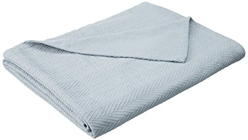 (Superior 100% Cotton Thermal Blanket, Soft and Breathable Cotton for All Seasons, Bed Blanket and Oversized Throw Blanket with Metro Herringbone Weave Pattern - King Size, Light Blue)
