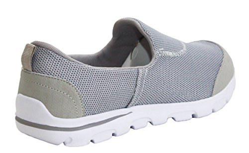 A&H Footwear Womens Ladies Walk Pro Lightweight Slip On Girls Go Walk Soft Touch Insole Casual Walking Running Gym Fitness Trainers Shoes UK Sizes 3-8 Grey kutWdLS