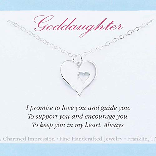 Goddaughter Gift • Infinite Love Necklace • Sterling Silver Heart Charm • 18 Inch Chain • Custom Jewelry from Godmother • Christmas • Baptism • Birthday ()
