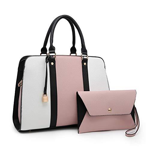 Lightweight Women Handbag, Medium Lady Satchel Multi Pockets Tote Designer Purse for Teen Girls Mom Summer Gift (XL-E-7999-PK/WT)