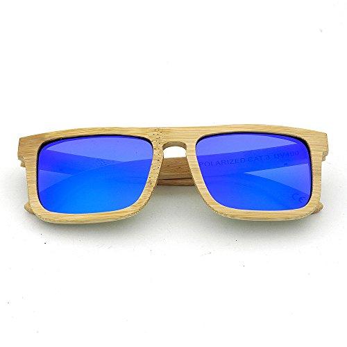 Diario Uso Gububi Lente de y Libre Adulto de a Cuadrado al Unisex Gafas Color Mano Madera para Cuadrado Marco UV400 para múltiples De Fines Aire Sol Adecuado Marrón Azul Color de Hecho protección YwOS4Yqx