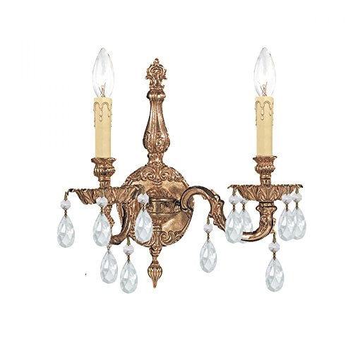 Olde Brass / Golden Teak Hand Polished Cortland 2 Light Cast Brass Candle Style Wall Sconce With Majestic Wood Polished - Cortland Light Cast Two