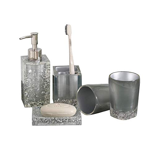 NarwalDate 5 Pieces Bathroom Accessory Set, Upgraded Version Acrylic with Crystal, Including Toothbrush Holders,Gargle Tooth-Brushing Tumbler,Soap Dishes,Soap & Lotion Dispenser Pump (Silver Gray)