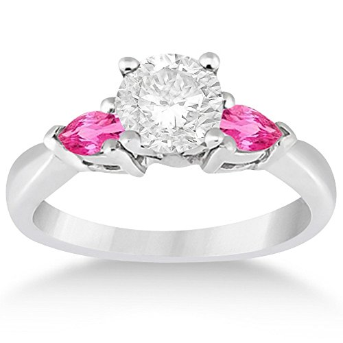 (Pear Shaped Three Stone Pink Sapphire Engagement Ring Setting 3-Stone Unique Platinum (0.50ct))