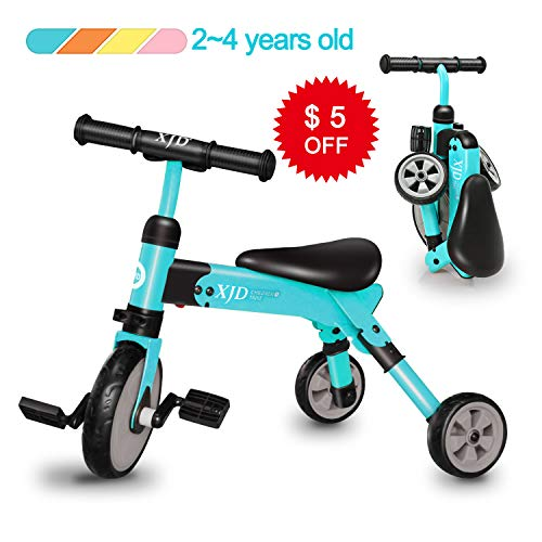 Old Folding - XJD 2 in 1 Kids Tricycles for 2 Years Old and Up Boys Girls Tricycle Kids Trike Toddler Tricycles for 2-4 Years Old Kids Toddler Bike Trike 3 Wheels Folding Tricycle Kids Walking Tricycle (Blue)