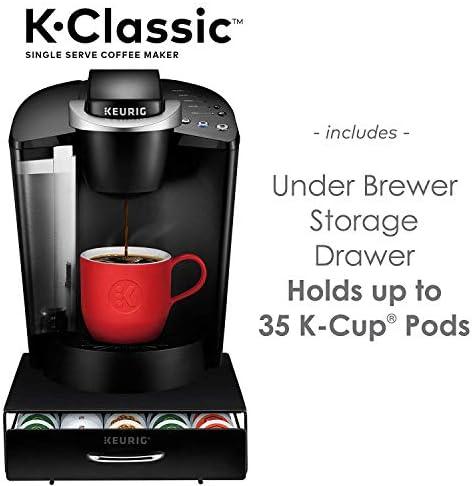 Keurig K-Classic Coffee Maker, Single Serve K-Cup Pod Coffee Brewer, Black and Under Brewer Storage Drawer, Holds up to 36 Keurig K-Cup Pods, Black