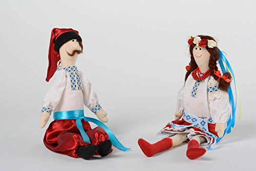 (Set Of 2 Handmade Designer Soft Dolls Man And Woman In Ethnic Ukrainian)