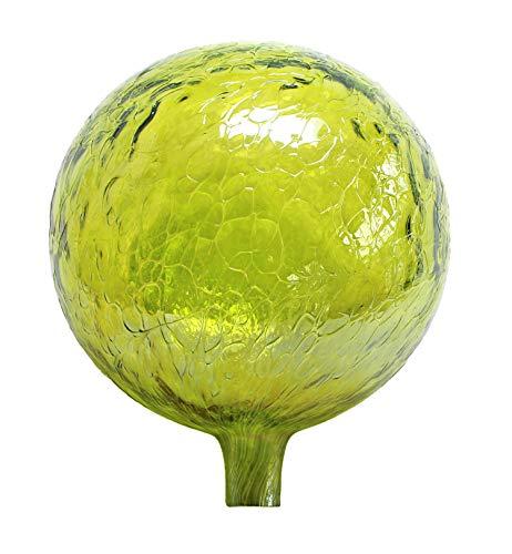 Glass Gazing Ball Lemon Yellow Iridized 12 Inch by Iron Art Glass Designs