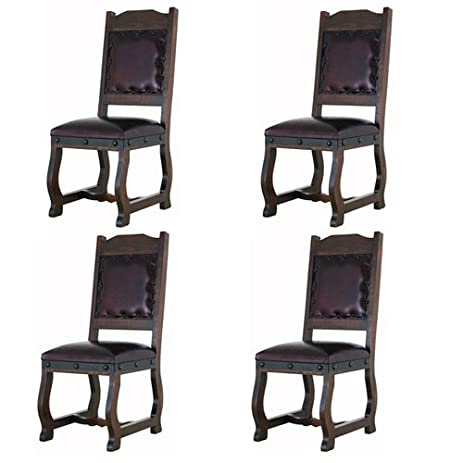 Four Rustic Gran Hacienda Leather Dining Chairs Solid Wood Lodge Old World