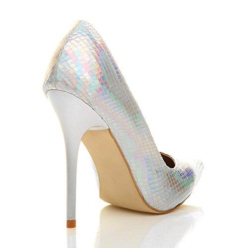 Damen Höher Absatz Kontrast Stilettos High Heels Spitz Gepflegt Fesch Arbeit Pumps Schuhe Silber Meerjungfrau