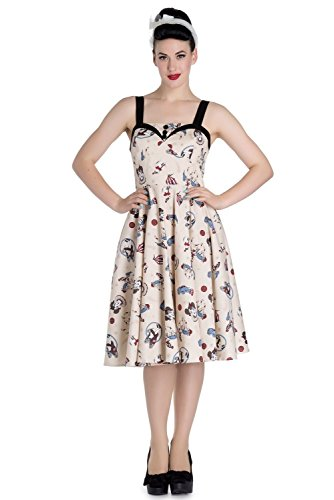 [Hell Bunny Circus 50's Rockabilly Dress - Beige (L)] (Circus Dress)