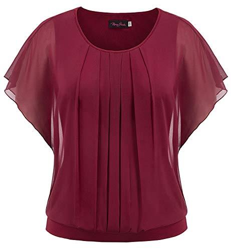 Chiffon Pleated Tunic - Hanna Nikole Women's Pleated Front Mesh Tunic Casual Chiffon Blouse Wine Red 20W