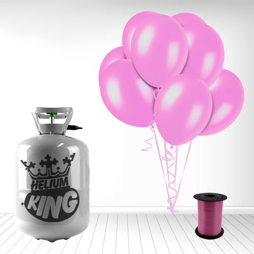 Disposable Helium Gas Cylinder with 30 Crystal Pink Balloons and Curling Ribbon included Helium King WBhelium30-1-CrystalPink