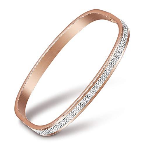 VQYSKO Fashion Women Jewelry Bracelet Square Shape Rhinestone Wedding Bangles (Rose Gold) ()