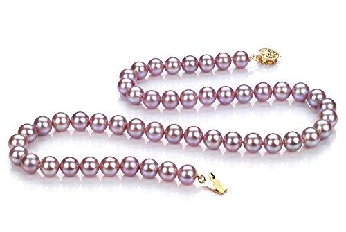 Lavande 7-8mm AAAA-qualité perles d'eau douce 585/1000 Or Jaune-Collier de perles