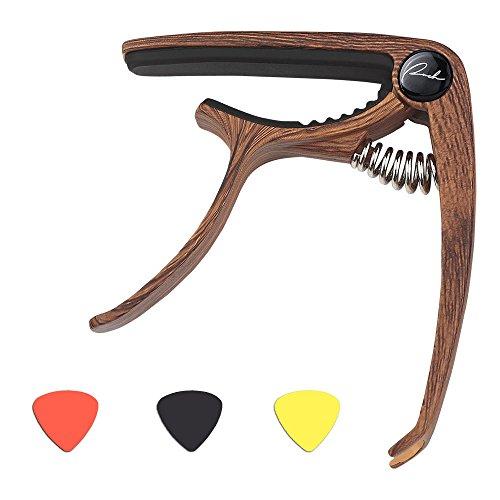 Guitar Capo Acoustic and Electric Guitars Capo Quick Change Accessories - Universal Single Handed Ukuleles, Mandolin & Banjo Instruments Capo - Free 3 Guitar Picks   Wood Grain