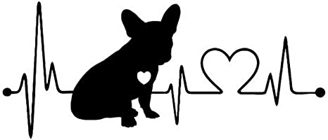 Oce180anYLV Bulldog francese battito cardiaco auto Paraurti Adesivi per finestra riflettenti Adesivi decorativi