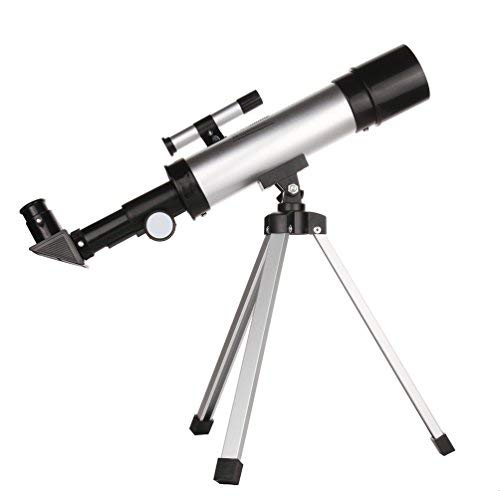 IOQSOF Telescope for Kids Nature Exploration Toys,Tripod,High-Definition Telescope Educational Toy for Kids,Light,Stable,Cool Easy to Use, Large, Black/Siliver by IOQSOF