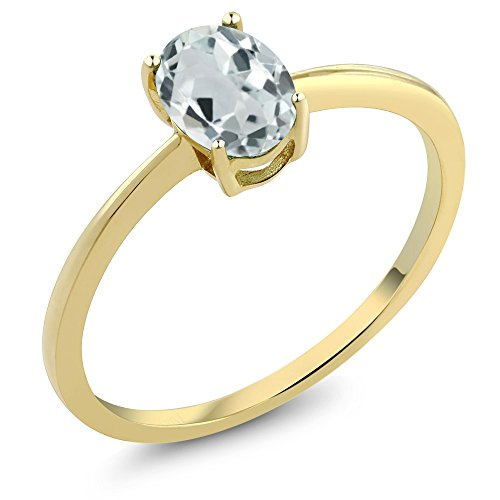 Gem Stone King 10K Yellow Gold Sky Blue Aquamarine Women's Solitaire Engagement Ring 0.72 Ct Oval (Size 7)