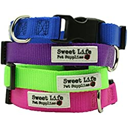 Dog Collar- Durable Woven Nylon Basic Utility Classic Large Green Collar by Sweet Life Pet Supplies (matching leash available sold separately)
