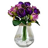Felice Arts Artificial Silk Flowers Fake Rose Hand Tied Bouquet Art Plants Pack of 12 Bunch for Home Hotel Office Wedding Party Garden Craft Art Decor PURPLE