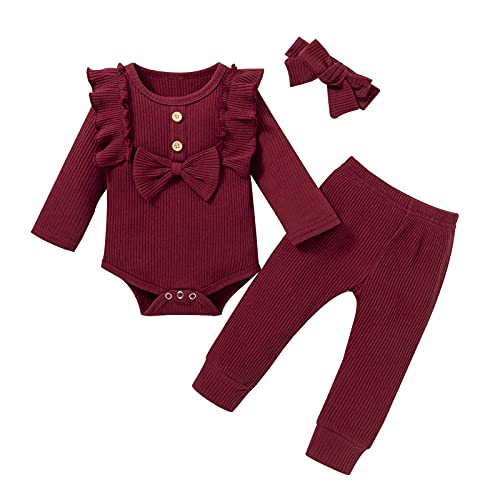 newborn girl outfits winter baby girls 0-3 3-6 0-6 months red rompers ribbed onesies long sleeve pants with bow headband