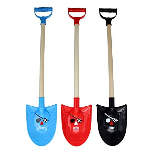 """Bo-Toys 30"""" Kids Pirate Beach Sand Shovels, Wooden, Heavy Duty, with Plastic Handle - set of 3"""