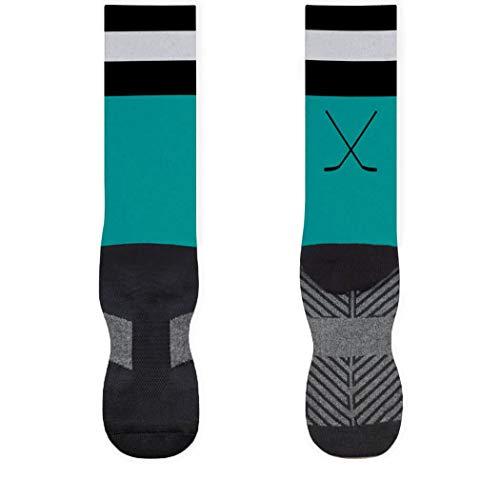 (Hockey Stripes Printed Mid Calf Socks | Hockey Socks by ChalkTalkSPORTS | Large | Turquoise/Black)