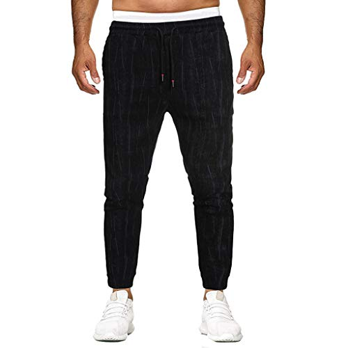 Men Splicing Pure Color Overalls Casual Pocket Sport Work Casual Trouser Pants, MmNote Black