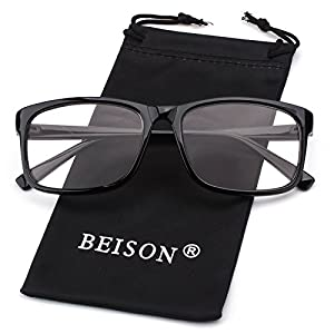 Beison Womens Mens Wayfarer Glasses Frame Nerd Eyeglasses Clear Lens (Shiny black, 54)