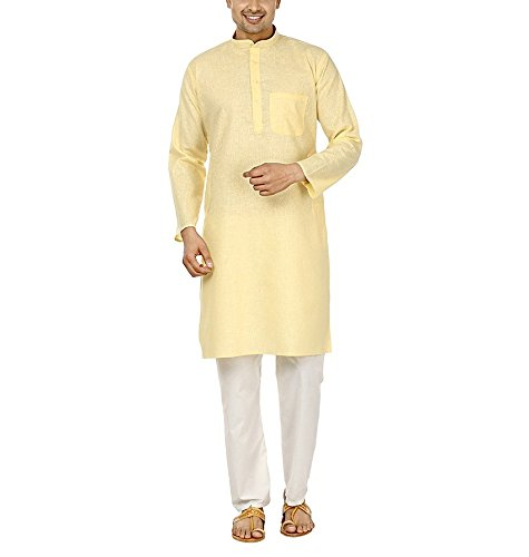 Royal Kurta Men's Fine Cotton Linen Airy Kurta Pyjama Set 44 Lemon by Royal Kurta (Image #4)