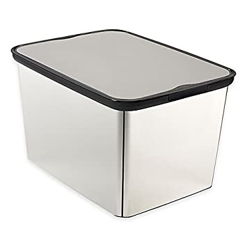 Amazing Curver Large Plastic Metallic Storage Tote With Lid In Silver