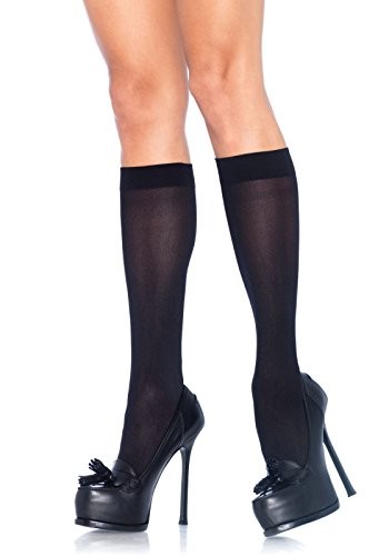 Leg Avenue Women's Nylon Opaque Knee Highs Hosiery, Black, One Size (Beer Garden Girl Costume)