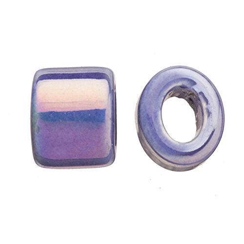 Sapphire Slide Spacer - 4pcs Spectrum Sapphire Porcelain Slider Beads For Licorice Leather - Oval Ring Style Glaze Finish 16x15.5mm