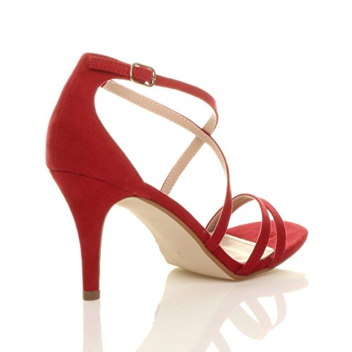 Women Ajvani High Red Shoes Heel Sandals Size Suede d1BOqw