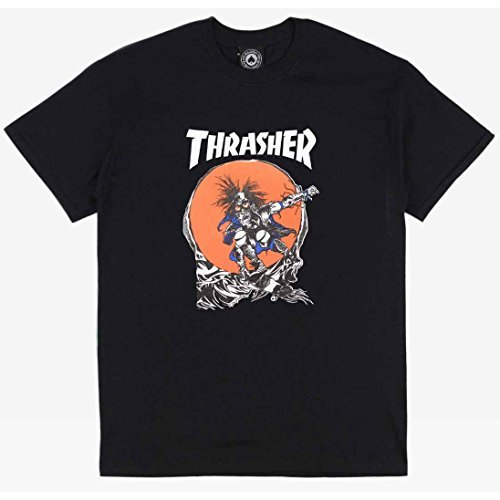 Thrasher Skateboard Magazine Outlaw T-Shirt (Black) (Medium)