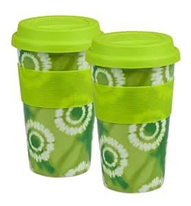 Konitz Batik Travel Mugs, Medium, Green, Set of 2
