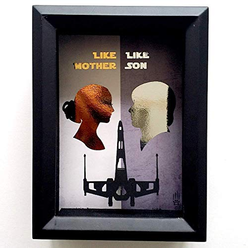 Star Wars Padme And Luke Mother's Day 3D Shadowbox - 5X7 X Wing Like Mother Like Son Gift Idea For Mom, Stepmom, -